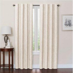 "Blackout curtain ivory off white 63""L x 50""W rod p"